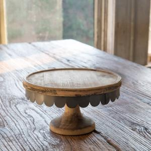 Wood and Scalloped Metal Cake Stand