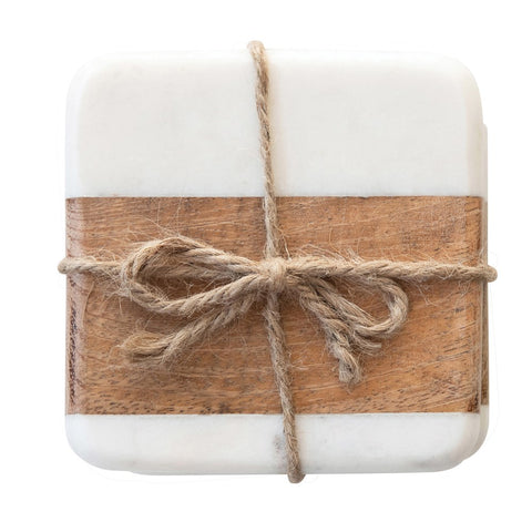 Marble and Wood Coasters - Set of Four