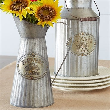 Classic Metal Farmhouse Pitcher perfect for holding fresh flowers