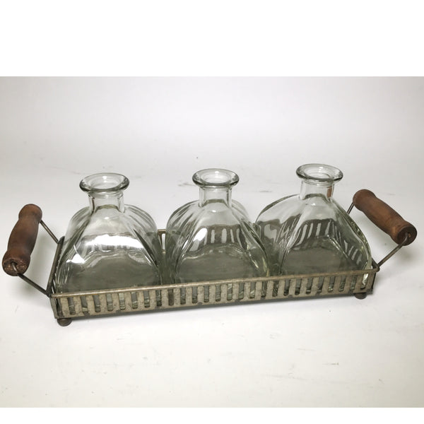 Metal Tray with Three Glass Bottles