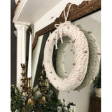 Chunky Metallic Yarn Wreath with Jingle Bells