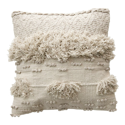 Nora Textured Fringe Pillow