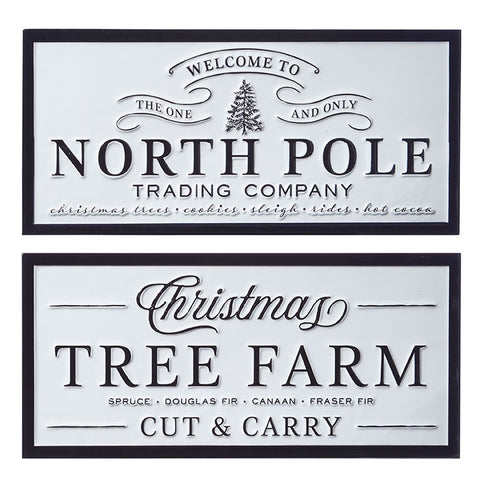 """North Pole"" and ""Tree Farm"" Embossed Metal Wall Art"