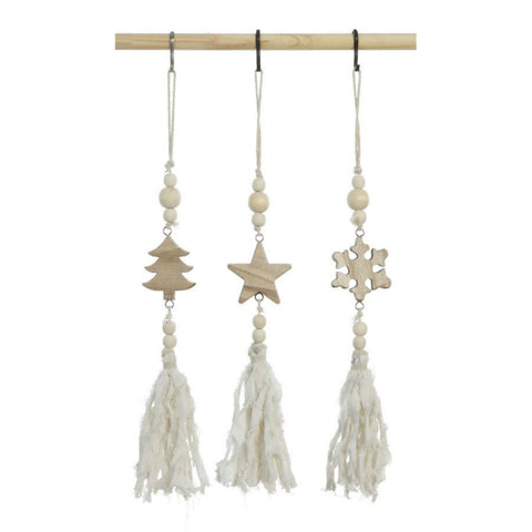 Wood Ornaments with Beads & Creamy White Tassels - Set of Three
