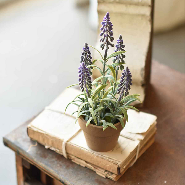 Potted Faux Grape Hyacinth - Set of Two