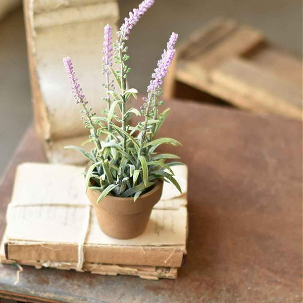 Potted Faux Purple Lavender - Set of Two