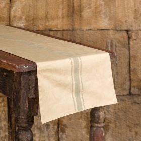 Linen Table Runner with Gray Stripe