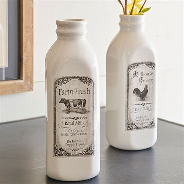 Vintage Inspired Ceramic Milk Bottle with Reproduction label