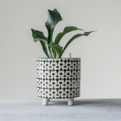Footed Black and White Stoneware Planter