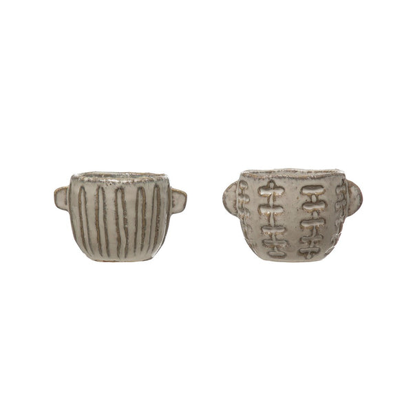Embossed Stoneware Pots - Set of Two