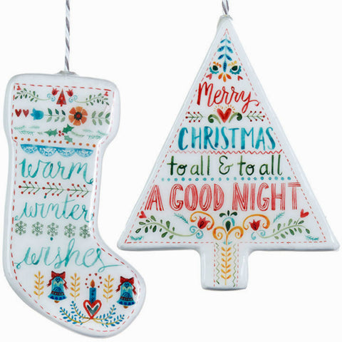 Tree and Stocking Holiday Ornaments - Set of Two