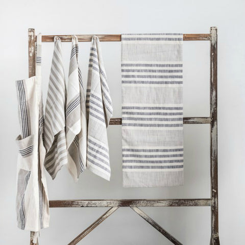 Black and Cream Striped Table Runner