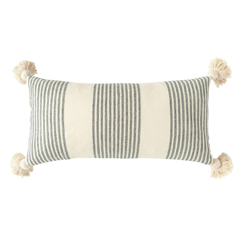 Striped Lumbar Pillow with Tassels