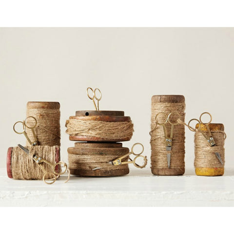 Found Wooden Spools with Jute - Set of Three