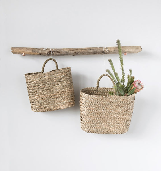 Hand Woven Seagrass Wall Baskets - Set of Two