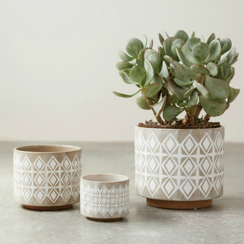 Stoneware Planters - Set of Three