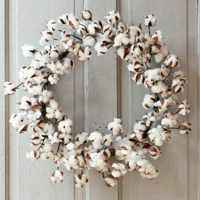 "Cotton Wreath 26"" Diameter"