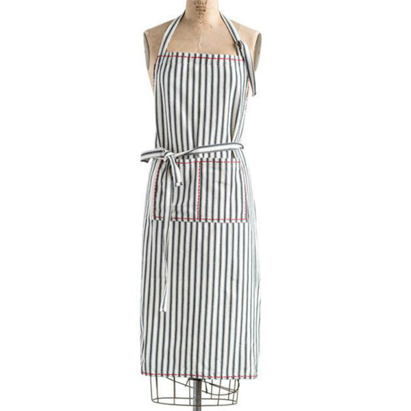 Cotton Striped Apron with Red Stitching