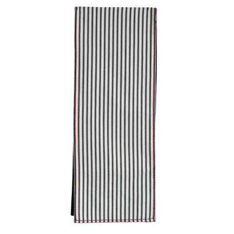 Black Striped Table Runner w/ Red Stitch