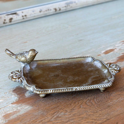 Brass Soap Dish with Bird