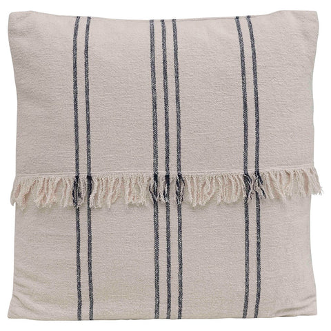 Navy Striped Pillow with Fringe