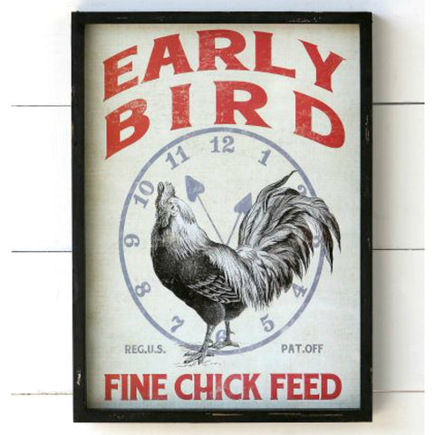Early Bird Feedsack Inspired Wall Art Decor