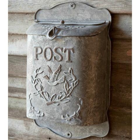 Embossed Metal Mailbox - Gray