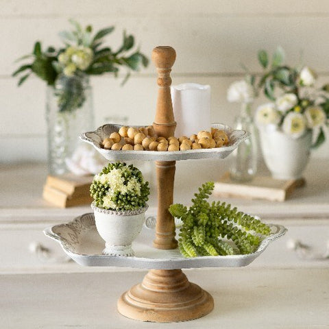 The Aurora Two Tier Tray with Wooden Handle