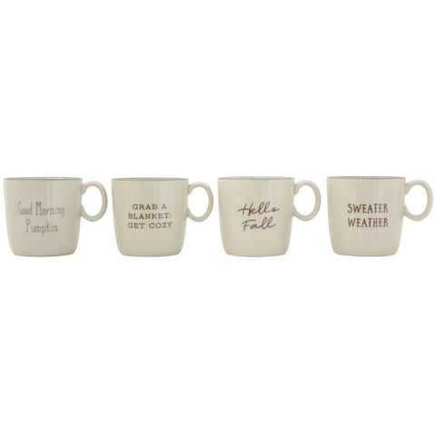 Stoneware Mugs with Fall Sayings - Set of Two