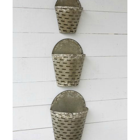 Hanging Metal Olive Buckets - Set of Three