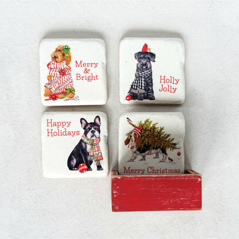 Holiday Dogs Coasters - Set of Four
