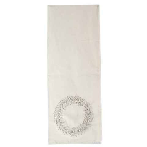 Cotton Table Runner with Appliqued Wreath
