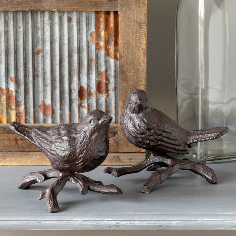 Cast Iron Perched Birds - Set of Two