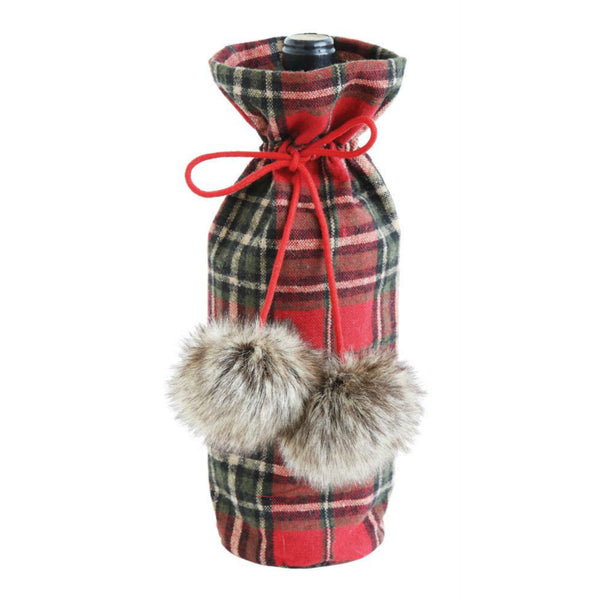 Fabric Plaid Wine Bag