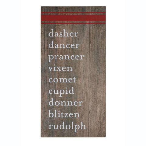 Reindeer Names Holiday Wall Sign