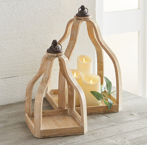 Rustic Wood and Metal Lantern - Set of Two