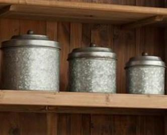 Galvanized Metal Canister Set of Three