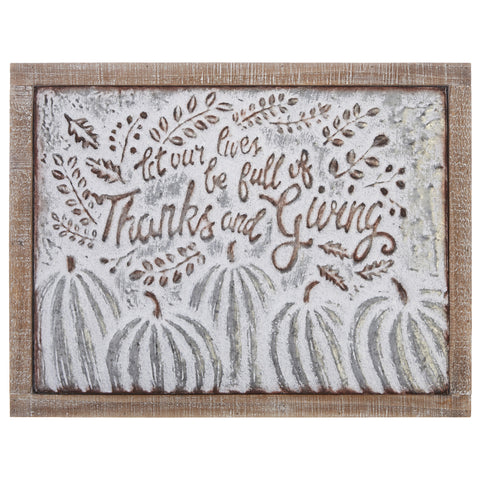"""Thanks and Giving"" Pumpkin Wall Art"