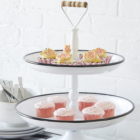 """Enamel"" Two Tier Tray with Wooden Handle"