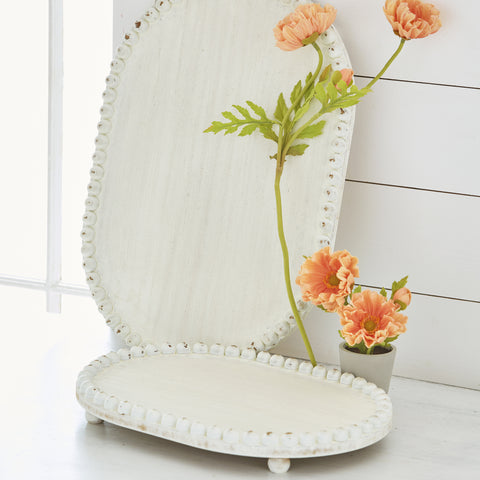 White Beaded Wooden Serving Trays