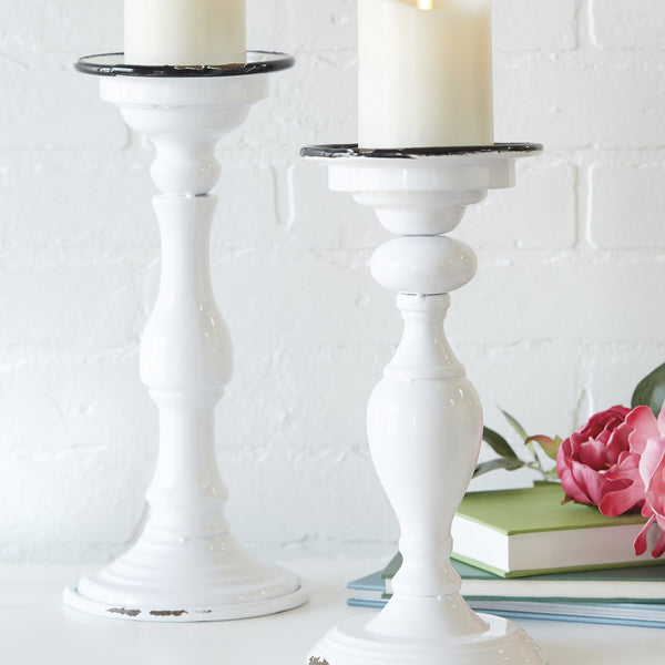 "White ""Enamel"" Candle Holders - Set of Two"