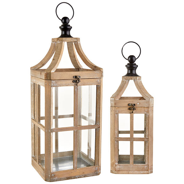 Wood & Metal Lantern - Set of Two