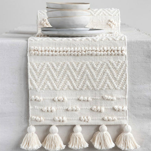 Woven Table Runner with Tassels