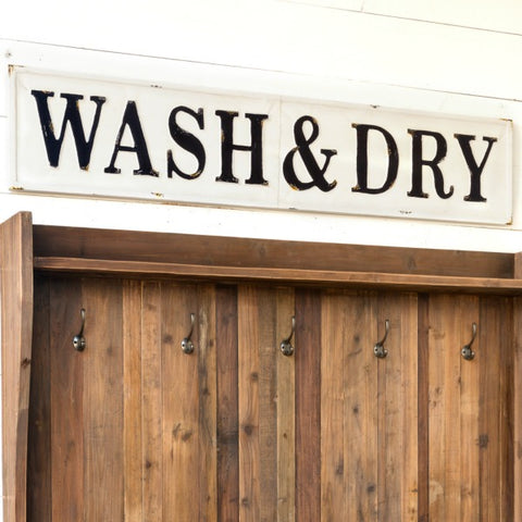 Embossed Metal Black and White Wash and Dry Wall Sign Perfect for a Laundry Room