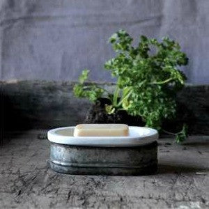 Galvanized Metal and Stoneware Farmhouse Style Soapdish