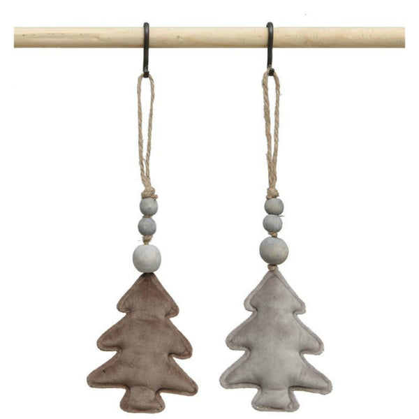 Velvet Tree Ornaments with Wood Beads - Set of Two