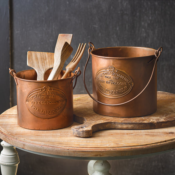 Copper Buckets - Set of Two
