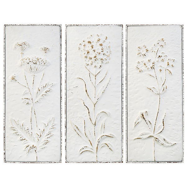 Embossed Metal Wildflower Wall Art