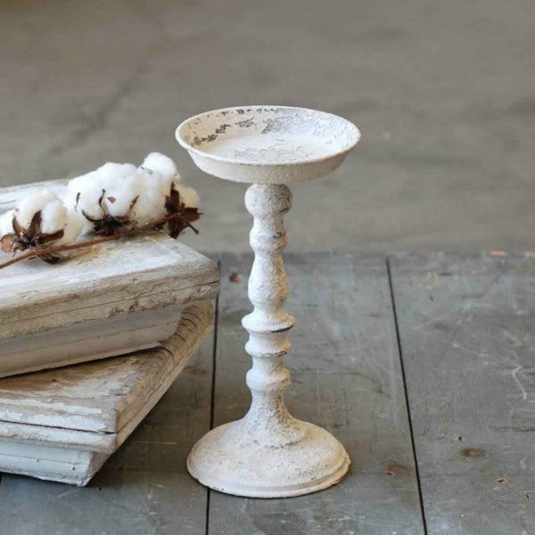 Painted and Distressed Chippy White Metal Candle Holder