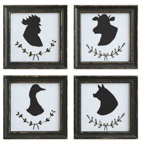 Animal Silhouette Black, Distressed Wood Framed Wall Decor Set of Four